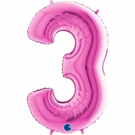 Zahl 3 Pink