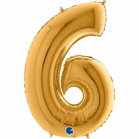 Zahl 6 Gold