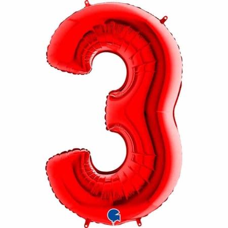 Zahl 3 Rot