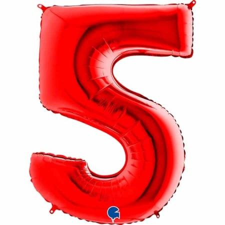 Zahl 5 Rot