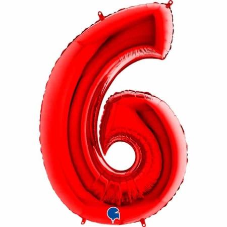 Zahl 6 Rot