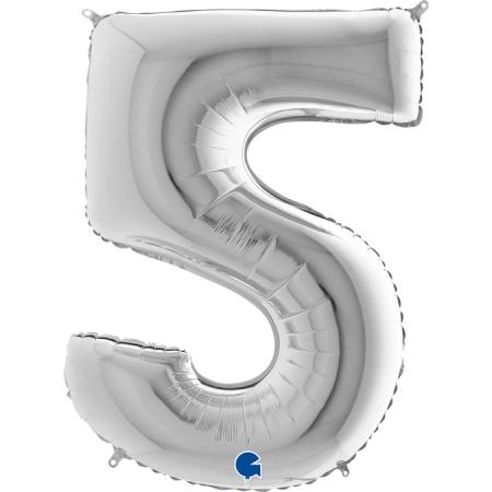 Zahl 5 Silber