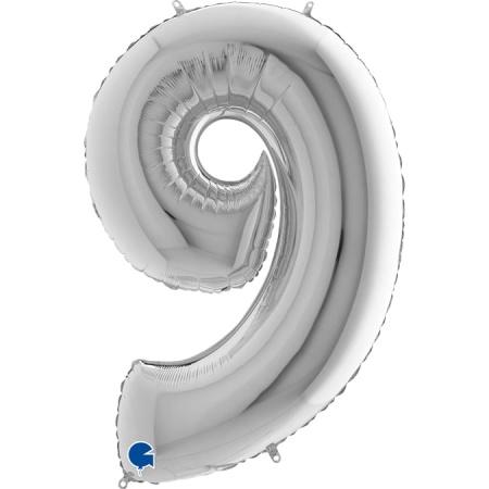Zahl 9 Silber