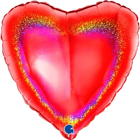 18068GHR Heart 18inc Glitter Holographic Red 1 1