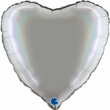 180P01RHPu Heart 18inc Rainbow Holographic Platinum Pure