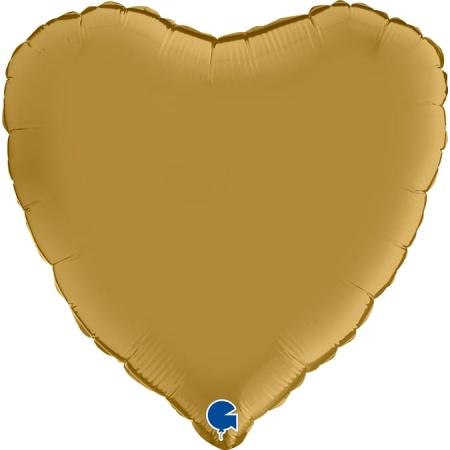 180S00G Heart 18inc Satin Gold con logo