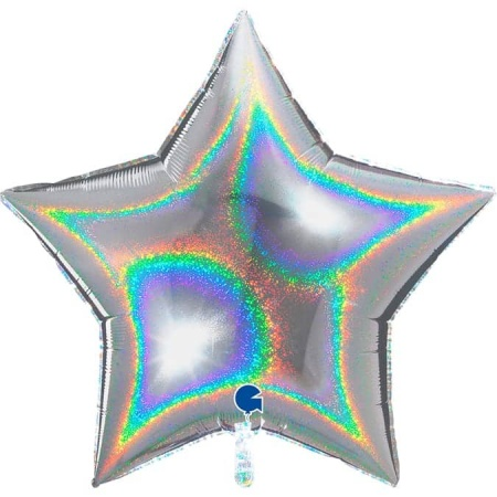 36269GHS Star 36inc Glitter Holographic Silver 1