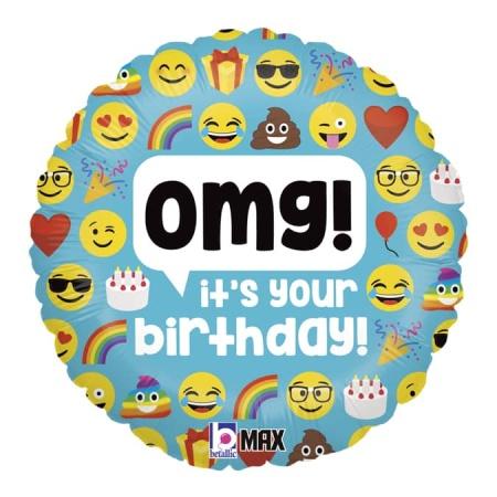 36697P R18 Emoji OMG Birthday