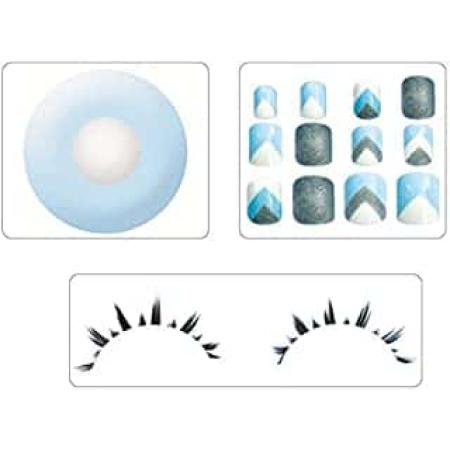 Set Linsen mit Fingernägel und Wimpern Hellblau - Silber glitzer