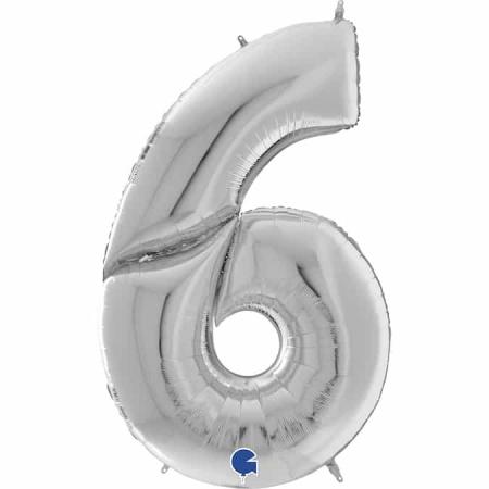 Maxi Zahl Silber 6