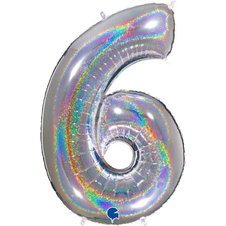Zahl 6 Glitter Holographic Silber