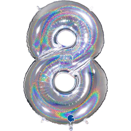 Zahl 8 Glitter Holographic Silber