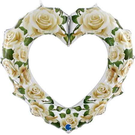 72015 White Roses Heart Frame 1