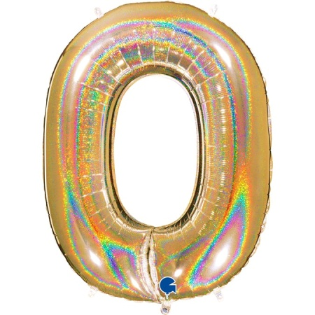 Zahl 0 Glitter Holographic Gold