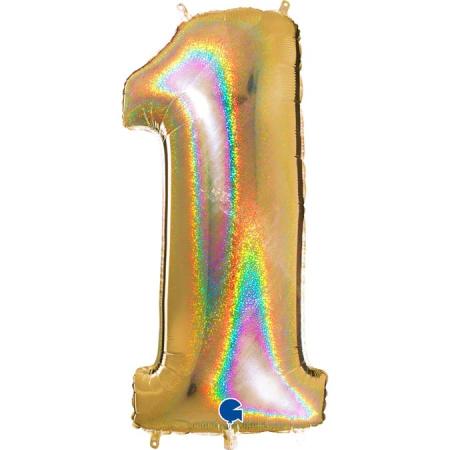 Zahl 1 Glitter Holographic Gold