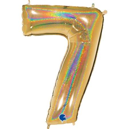 Zahl 7 Glitter Holographic Gold
