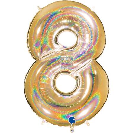Zahl 8 Glitter Holographic Gold