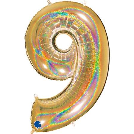 Zahl 9 Glitter Holographic Gold