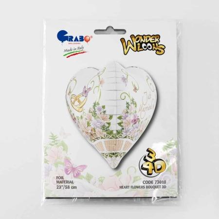 73010 HEART FLOWERS BOUQUET 3D 23inc cartolina 190x140 1