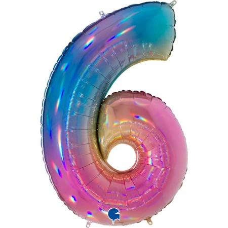 Zahl 6 Colorful Rainbow