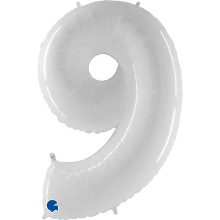 Zahl 9 Weiß