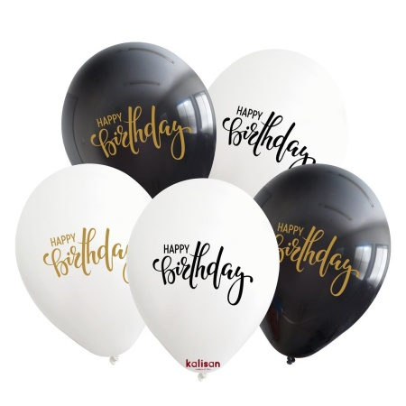 black and white themed happy birthday printed 12inc