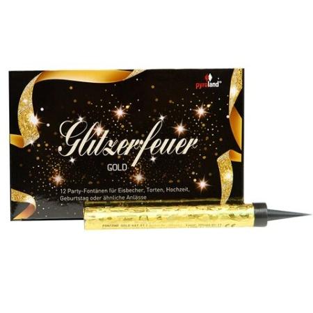 Eisfontäne-Glitzerfeuer Gold 12er Packung