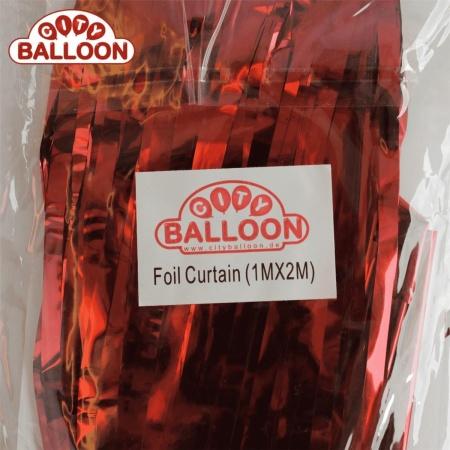 foil curtain 1x2 rot verpackt