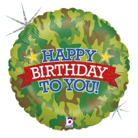 """Happy Birthday Comouflage 18""""/46cm"""