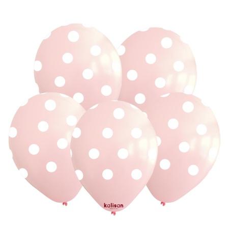light pink - white polka dots