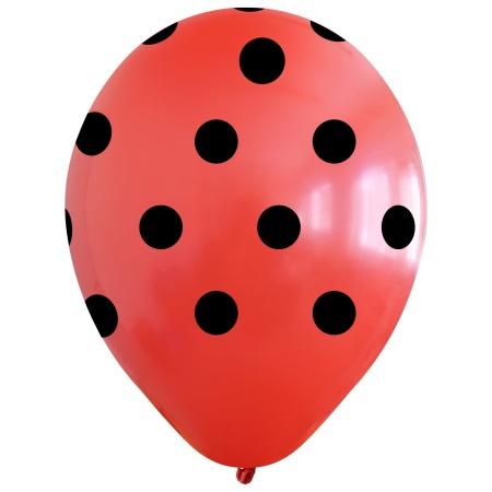 polka dots red black 12inc