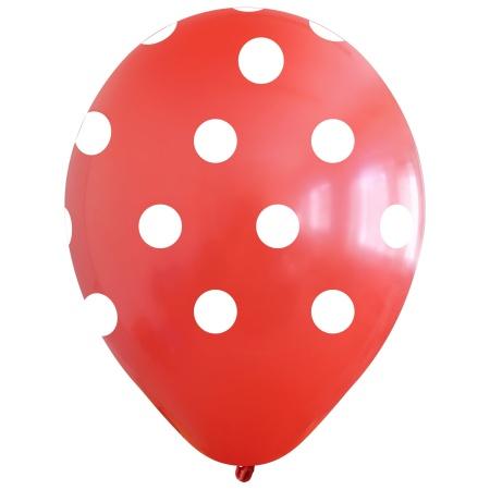 polka dots red white 12inc